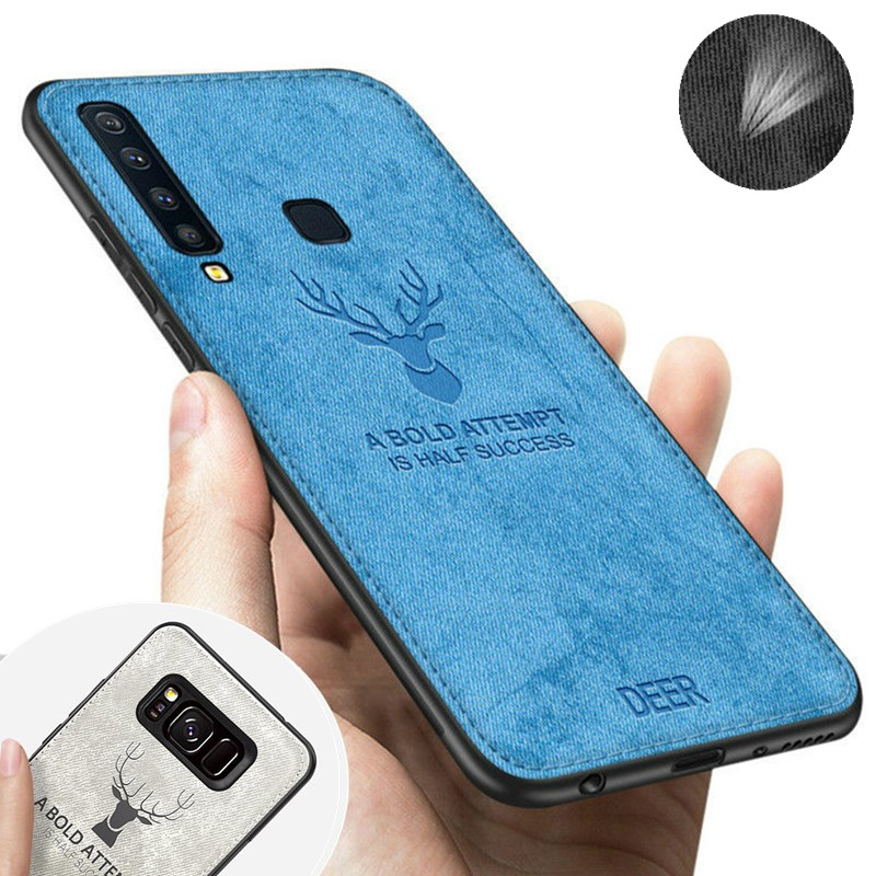 Fabric Case For Samsung Galaxy S10 S10e E S9 S8 A7 A9 J4 J6 A6 A8 Plus 2018 Note 9 8 S7 Edge Canvas Skin Soft Silicon Deer Cover