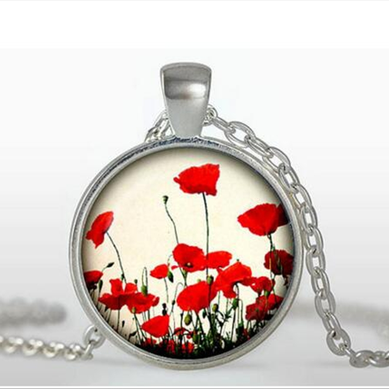 wholesale Poppy Pendant Poppy Necklace Red & White Flower Jewelry Nature Pendant Glass Cabochon Necklace Poppy Jewelry A-045 HZ1 - Click Image to Close