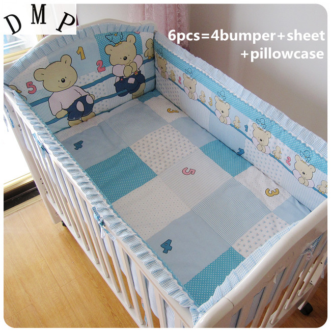 Promotion! 6PCS Blue Bear Crib Bedding Set For Childrens Bed Crib Set Baby Bedding (bumper+sheet+pillow cover)