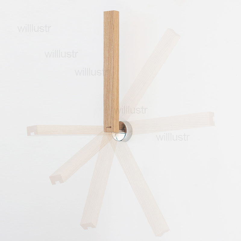 wood ruler LED wall lamp American red oak wall sconce bedside sofa side turnable light home bedroom living sitting room hotel