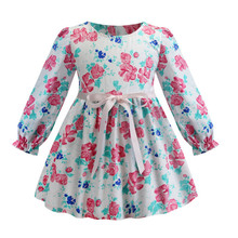 Long Sleeve Baby Girl Dress Floral Print Kids Girls Dresses 2019 Spring Autumn Princess Girl Clothes Children Dresses 2-8 Years цены онлайн