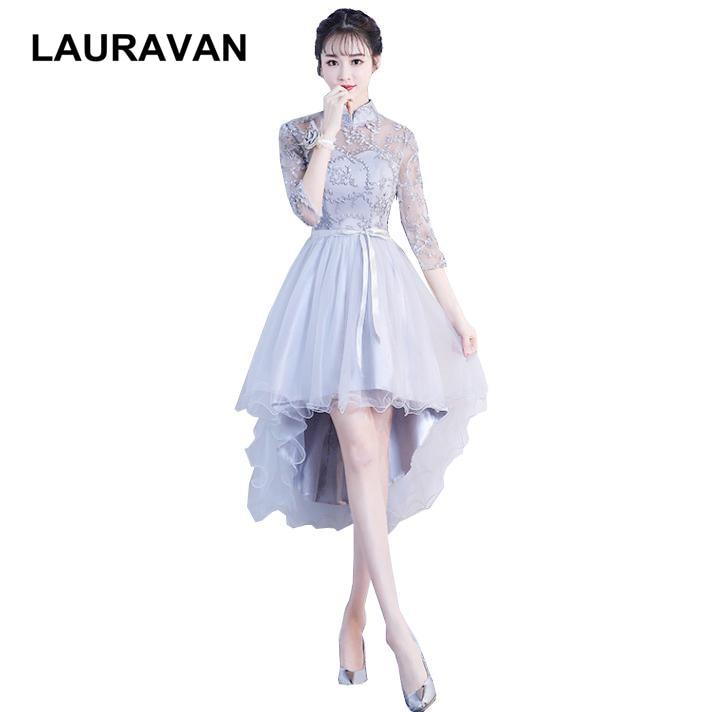 gown women fashionable elegant short front long back hi lo   bridesmaid     dresses   2019 ladies   dress   size 8 night grey women clothing