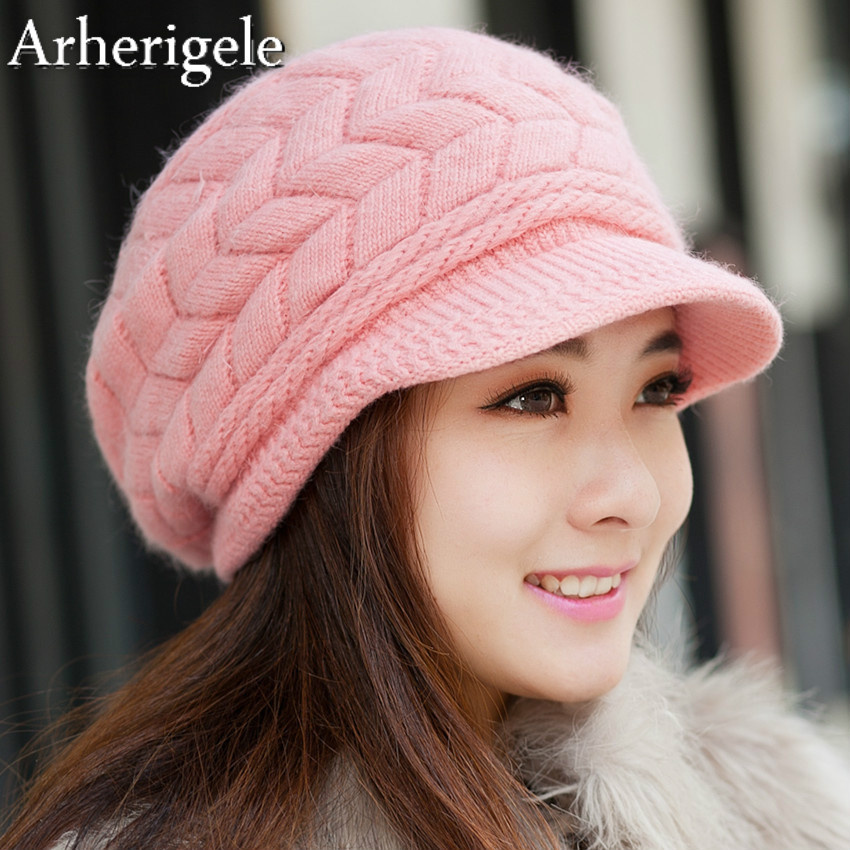 Arherigele 1pcs Fashion Casual Women's Winter Hat Thick Warm Knitted Hat   Skullies     Beanies   Solid Color Caps Female   Beanie   Hat