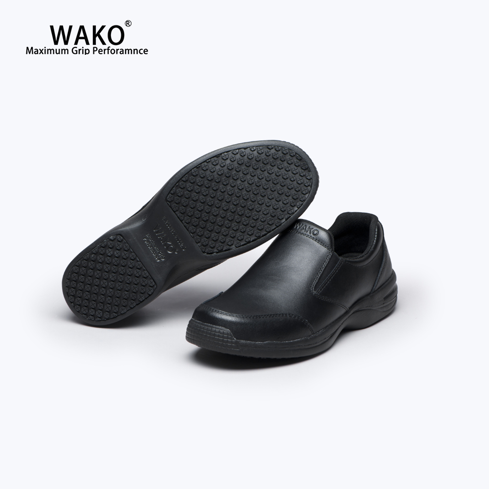 WAKO Chef Shoes Men Black Leather Shoes Non-Slip Kitchen Cook Safety Shoes Anti-Skid Hotel Restaurant Factory Work Shoes 93886