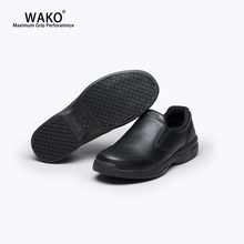 WAKO Chef Shoes Men Black Leather Shoes Non-Slip Kitchen Cook Safety Shoes Anti-Skid Hotel Restaurant Factory Work Shoes 93886 wako lzw9801 men kitchen shoes genuine leather chef shoes antiskid waterproof oilproof hotel shoes steel head steel toe 38 44