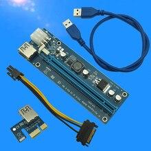 006C PC PCIe PCI-E PCI Express Riser Card 1x to 16x USB 3.0 Data Cable SATA to 6Pin IDE Molex Power Supply for BTC Miner Machine