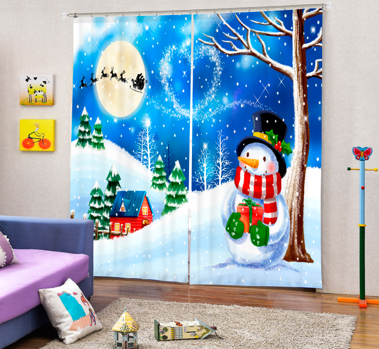 Snowman Christmas Night 3d Digital Printing Stereo Cutoff Curtains High Precision Black Silk Door Curtain