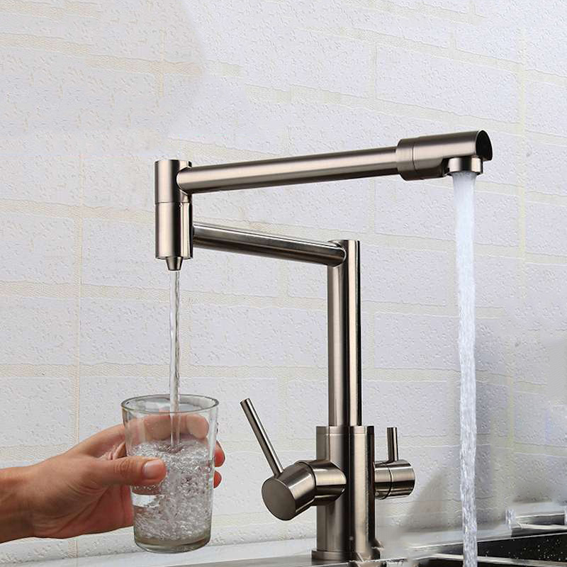 MTTUZK Brass Brushed Kitchen Folding Faucet With Pure Water Cold Hot Kitchen Modern Drinking Water 3 Way Filtered Faucet Mixer
