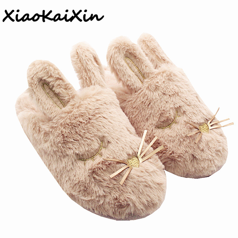 Winter Faux Rabbit Fur Home Shoes Women's Cute Cartoon Big Ears Rabbit Warm Soft Non-slip Indoor Floor Plush Slippers Bedroom women floral home slippers cartoon flower home shoes non slip soft hemp slippers indoor bedroom loves couple floor shoes