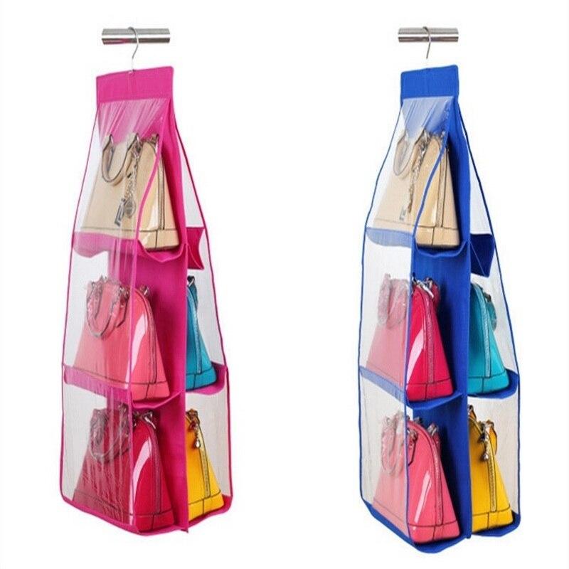 Hoomall 1PC 6 Pockets Hanging Storage Bag Purse Handbag Tote Bag shoes Storage Organizer Rack Hangers Storage Bag 85x35x35cm