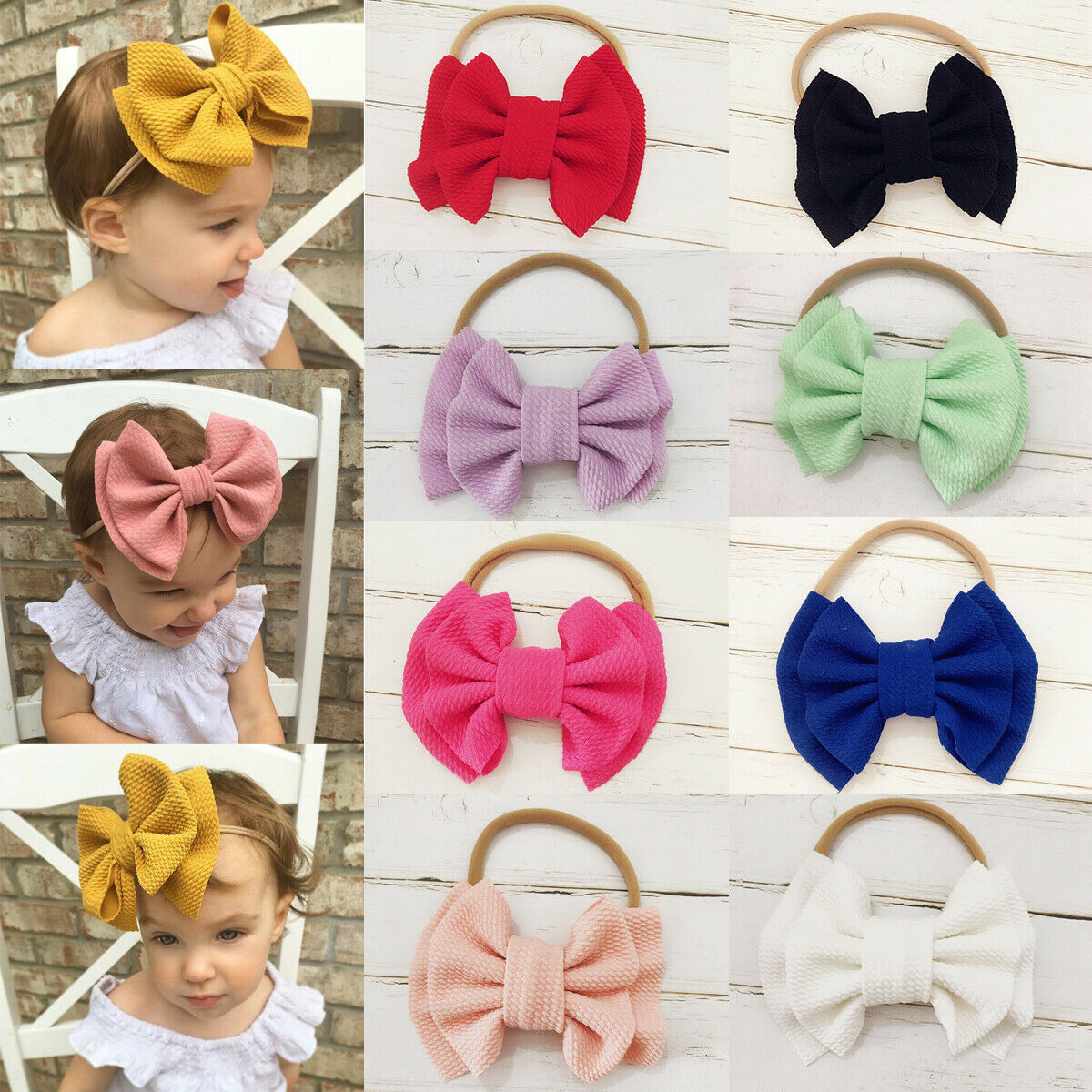 Toddler Kids Baby Girls Big Bow Hairband Knot Elastic Headband Hair Accessories Black Blue White Red Yellow Accessories
