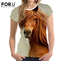 FORUDESIGNS Vintage Women Summer T Shirt 3D Carzy Horse Animal Woman Tops Casual Short Sleeve Female