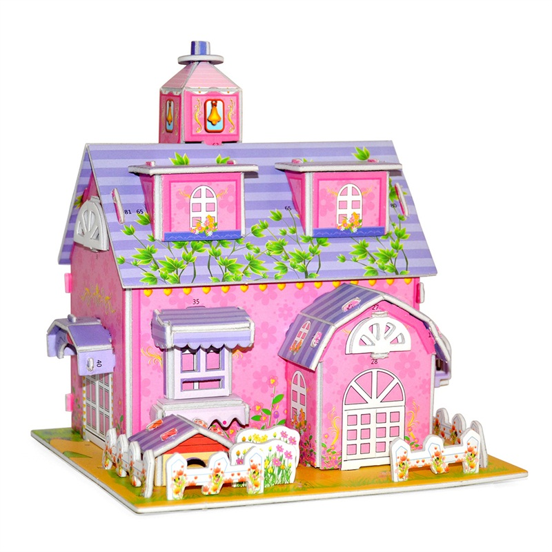 3D DIY Puzzle Castle Model Cartoon House Assembling Paper Toy Kid Early Learning Construction Pattern Gift Children House Puzzle