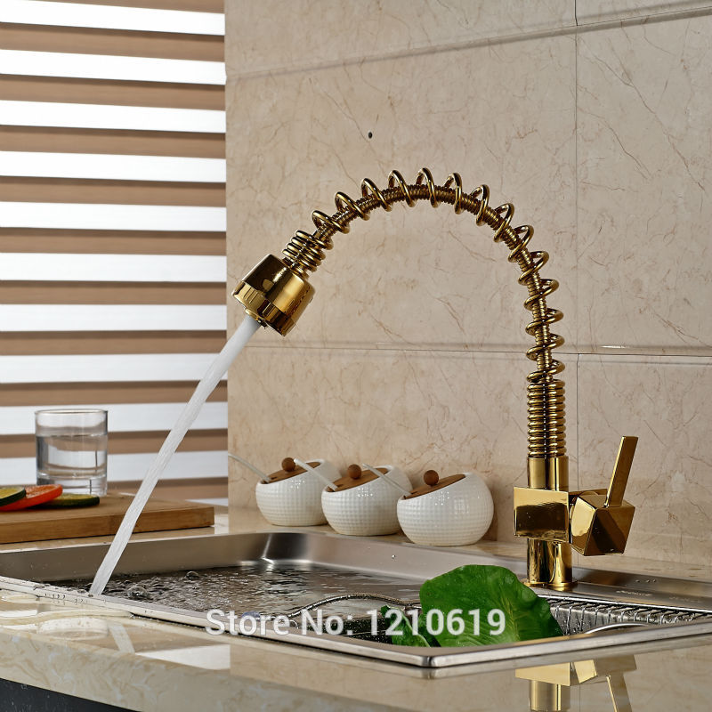 Newly Deck Mount Kitchen Pull Down Sink Faucet Mixer Tap Golden Polished Luxury Basin Faucet Single