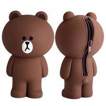 Чехол для карандашей с мультипликационным принтом, милый силиконовый чехол для карандашей с 3D изображением коричневого медведя кролика, детские игрушки, подарки для детей, декор для девочек