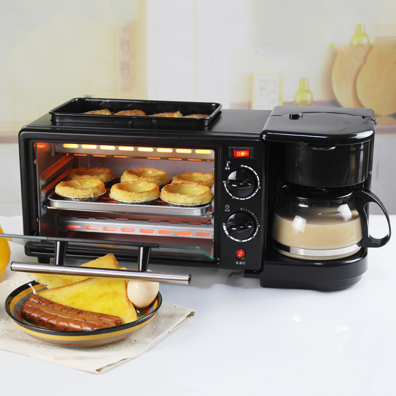220V 3 In 1 Electric Breakfast Toaster Automatic Multifunctional Electric Bread Baking Oven Frying Pan With Coffee Pot EU/AU/UK/