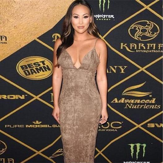 High Quality Sling V neck Velour Leather Bodycon Dress Celebrity Party Elegant Dress