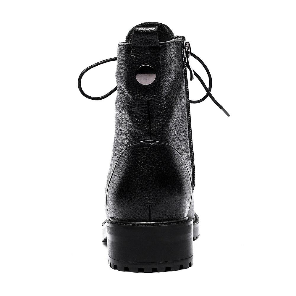 Fur black With Fur 2018 En Dentelle Vache Doratasia Jusqu'à Chaussures Cuir La Bottes Mode Martin Offre Femme Spéciale Cheville Black Without Véritable Y6gfb7yv