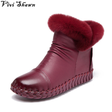 2017 Top Quality Women Boots Hand Made Genuine Leather Ankle Snow Boots Fashion Winter  Shoes Hot Sale