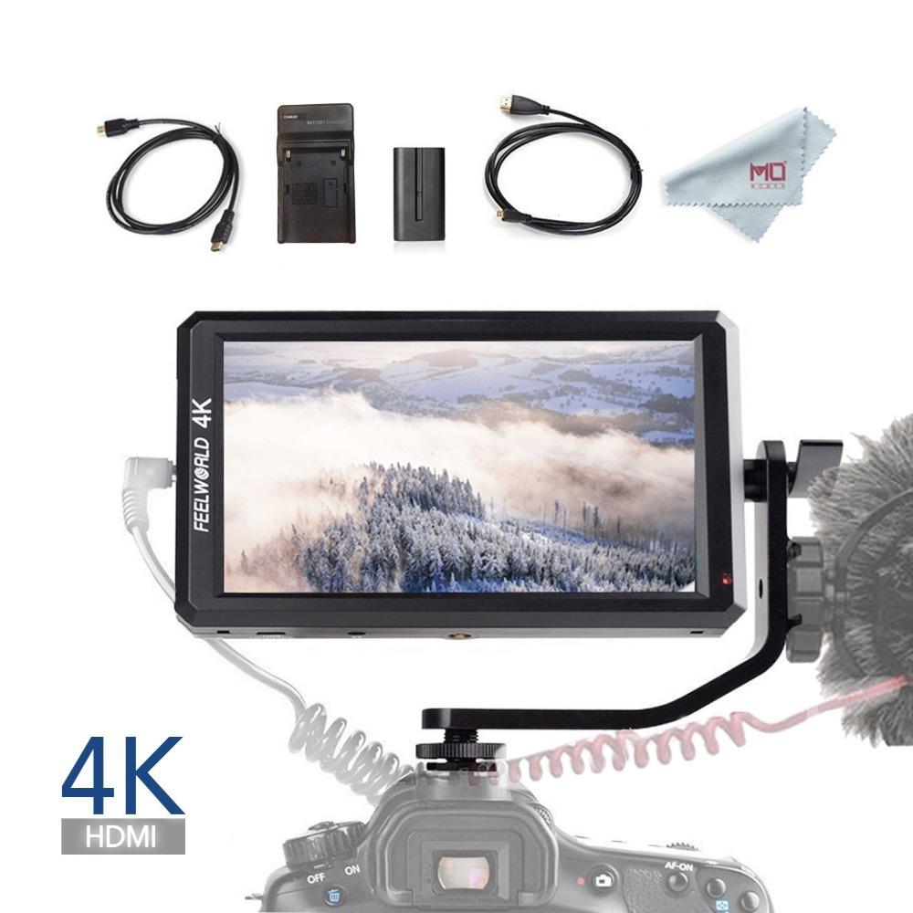 Feelworld F6 Full HD On-Camera Field Monitor 5.7 Inch with Tilt Arm 4K HDMI Input DC 8V Power Output for DSLR Mirrorless Camera цена