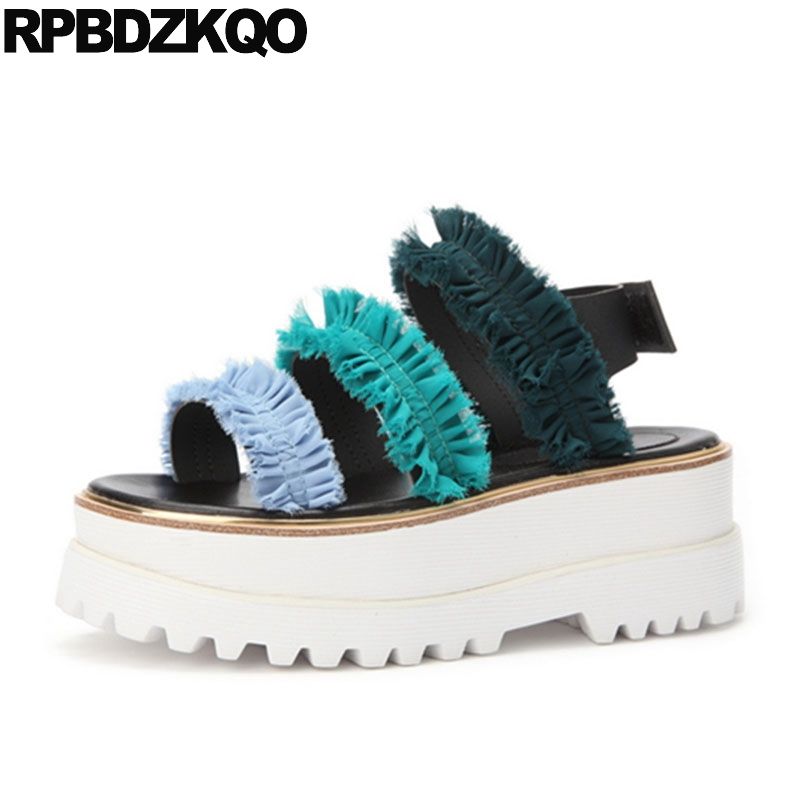 Designer Sandals Women Luxury 2017 Flat Shoes Platform Strap Fashion Slingback Flatform Genuine Leather Open Toe Blue Strappy strappy toe post flat sandals