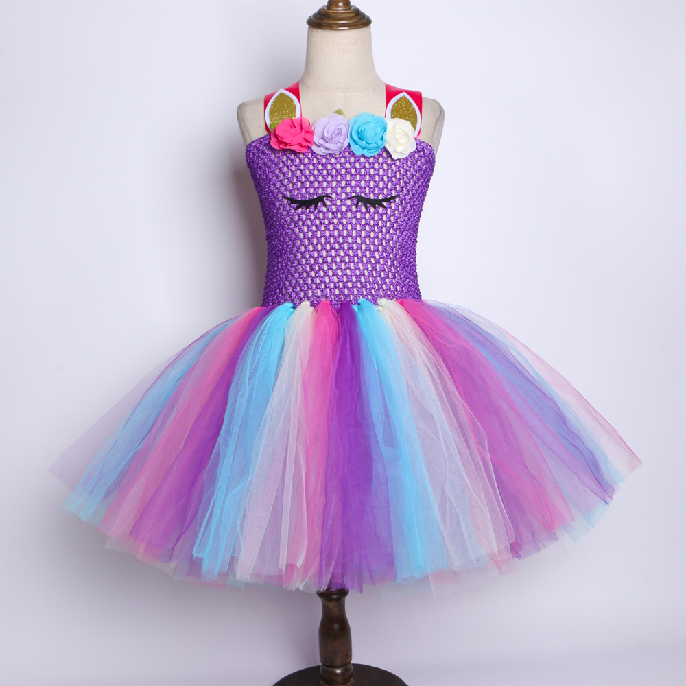 9e8fc2c7c Details about Purple Pastel Girls Unicorn Tutu Dress Princess Flower Girl  Birthday Party