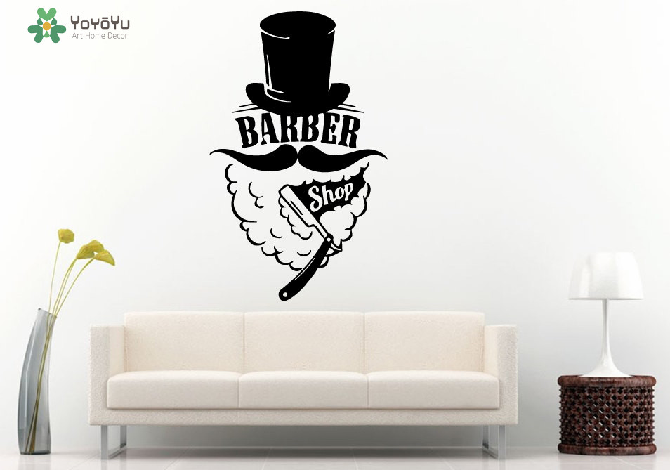 Barber Shop Logo Wall Sticker Window Removable Haircut Vinyl Decal Fashion Design Hat Man Moustache
