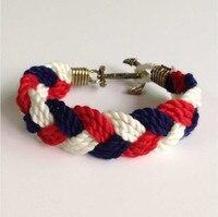 Brand Customize Logo Fashion Wristband Bronze Braided Woven Anchor Bracelet Bangle Women Men Cotton Rope Hook