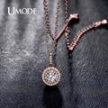 UMODE Классический Дизайн Halo 0.5ct Имитация Алмазный Родий Роза Позолоченный Кулон Ожерелья Ювелирные Изделия для Женщин Колье UN0229