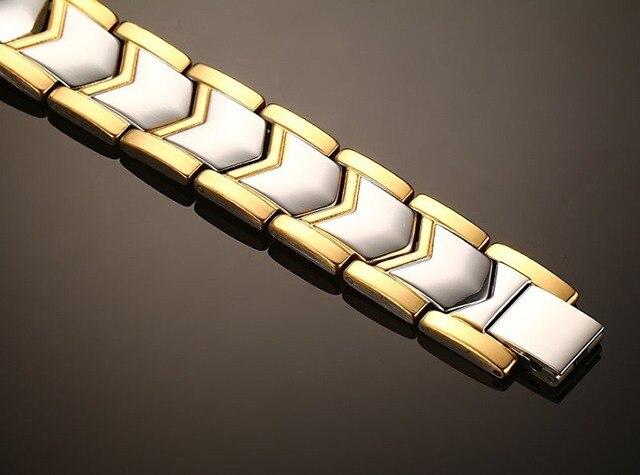 Фото розовое золото цвет титановая сталь двухрядные магнитные браслеты