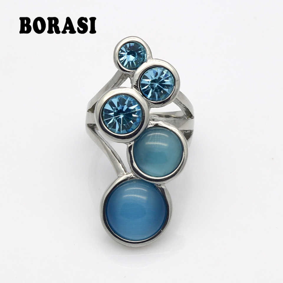 New Style Pink/Blue/White Round Opal Ring Gold Color High-grade Fashion Delicate And Charming Woman Rings Wholesale