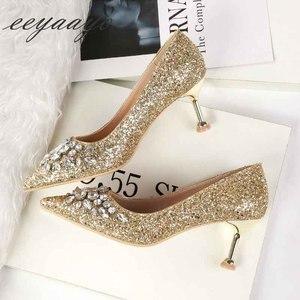 Image 4 - 2019 nova primavera/outono mulheres bombas de salto alto fino dedo do pé apontado sexy senhoras cristal nupcial casamento sapatos femininos ouro saltos altos