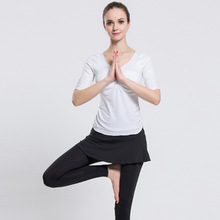 NEW Fitness Women Yoga Running Set Quick Dry Sexy Short Sleeve Workout Sport 2pcs Suit Gym Clothes
