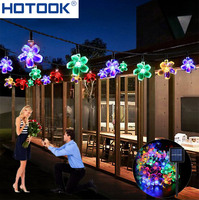 Christmas Solar String Lights 50 LED 7m 23ft Blossom Flower Lawn Garden Decorationsfor Home Outdoor Party Wedding Patio Holiday