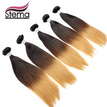 Free Shipping Wholesale 10pc Ombre Virgin Straight  Hair Ombre 1B & #613 Ombre Straight Hair Extension Black+#613 Ombre Hair