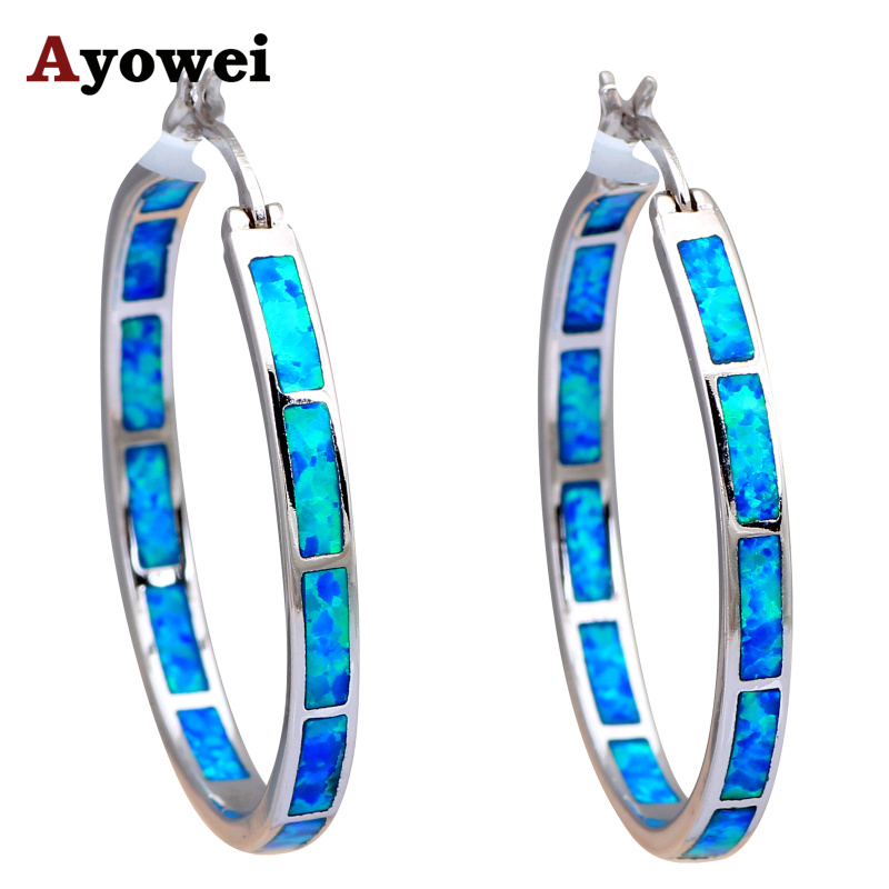 Shock Design Huge Round Hoop Earrings Blue Fire Opal Silver Stamped Party Prom Fashion Jewelry Opal Jewelry Gifts OES535A