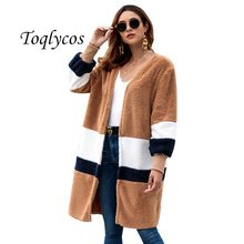 Women's new 2019 Europe and America autumn winter hot style loose sweater medium long cardigan plush coat 419(China)