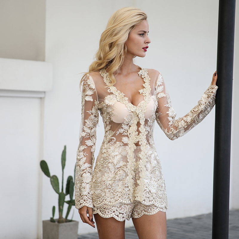 Elegant Long Sleeve Lace Mesh Embroidery Jumpsuit Romper 1