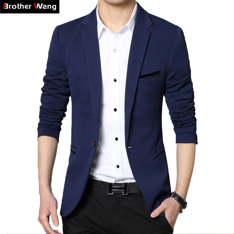 2020 Autumn New Men's Blazer Coat Business Casual Fashion Blue Slim Fit Suit Male Brand Clothing 1