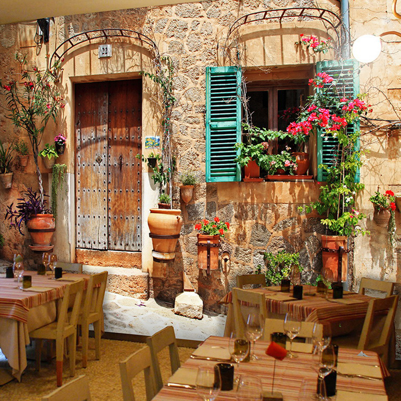 European Style Small Town Vintage Wallpaper Restaurant
