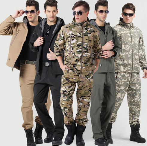 Outdoor Sharkskin Softshell Jacket And Pant Set Men's Clothing Sets Military Tactical Waterproof Outdoor Jacket ветровка dickies softshell jacket navy