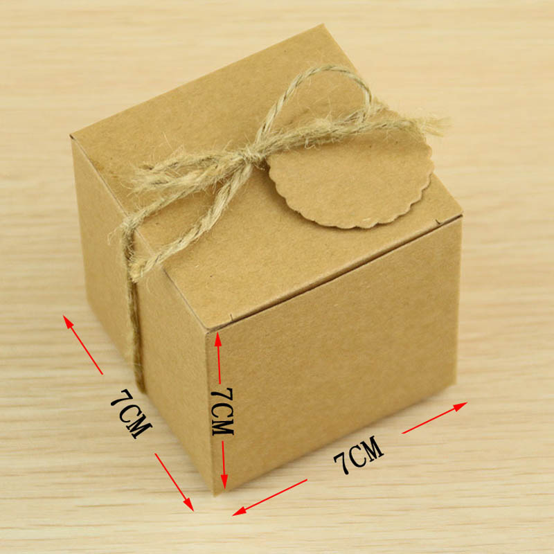 100pcs 7*7*7cm retro mini kraft paper box diy wedding gift favor ...