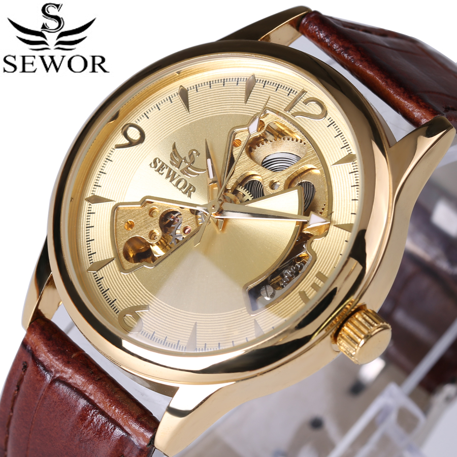 SEWOR Brand Mechanical Automatic self-wind Skeleton Watches  Fashion Casual Men Watch Luxury Clock Genuine Leather Strap 2017 shenhua brand black dial skeleton mechanical watch stainless steel strap male fashion clock automatic self wind wrist watches