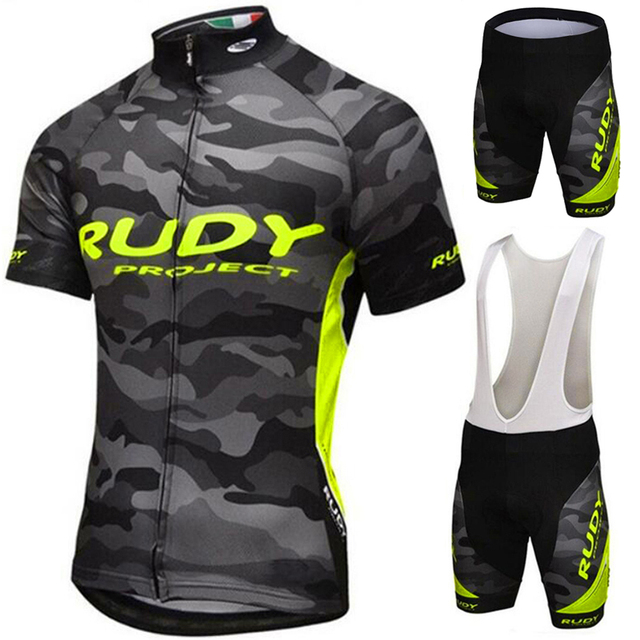 5a5b4a441 Flour Yellow Cycling Jersey Set Summer Men Cycling set Racing Bicycle  Clothing Suit Breathable Mountain Bike