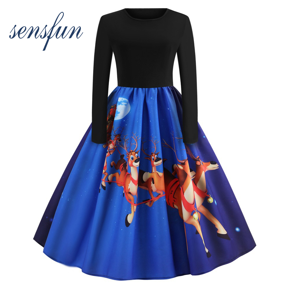 Sensfun 2018 Women Cotton Hepburn Robe O Neck Vintage Dress Long Sleeves Vestidos Retra Party Dresses For Christmas With Print