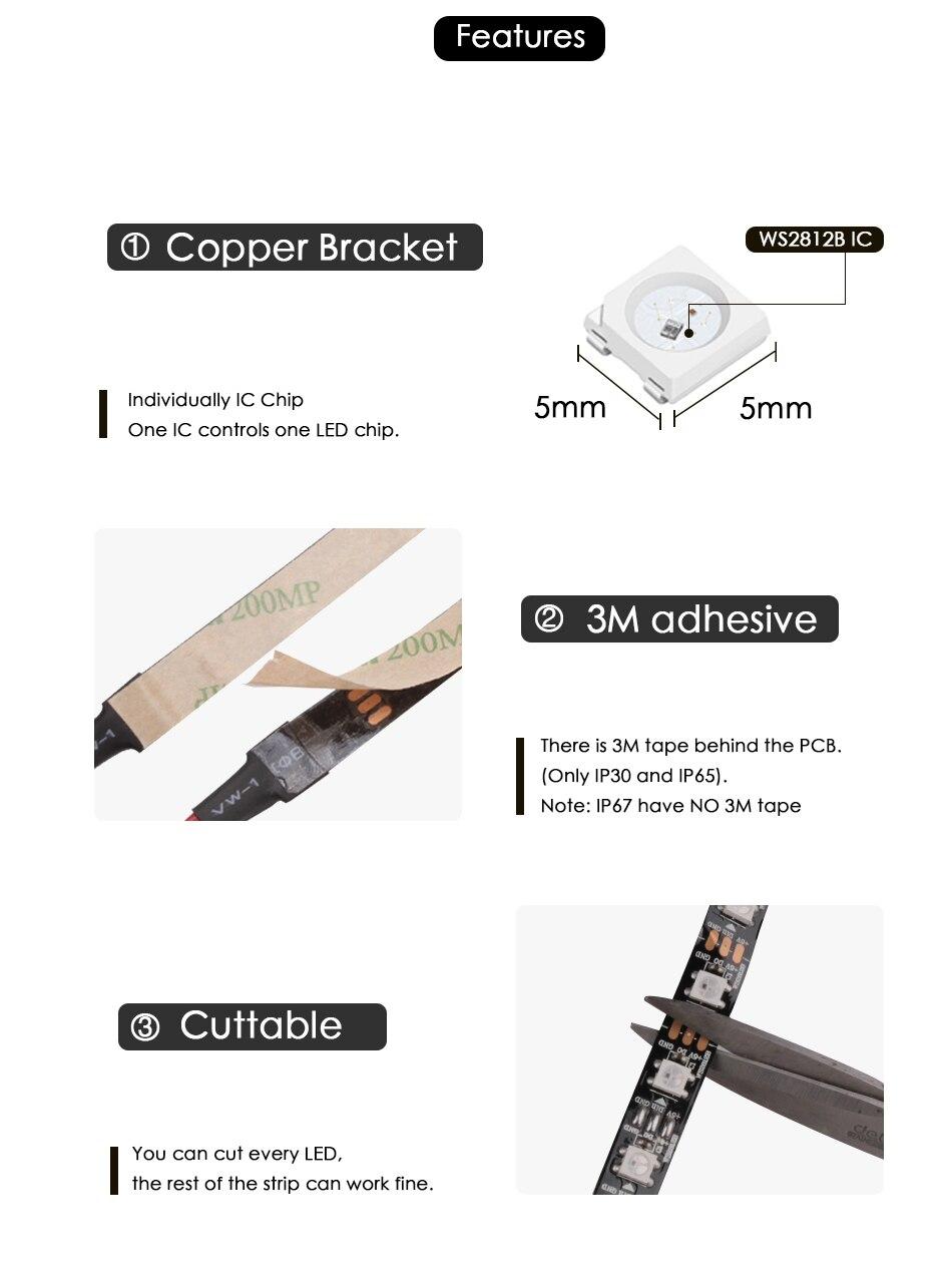 HTB1MACDX8r0gK0jSZFnq6zRRXXaa WS2812B DC 5V LED Strip RGB 50CM 1M 2M 3M 4M 5M 30/60/144 LEDs Smart Addressable Pixel Black White PCB WS2812 IC 17Key Bar