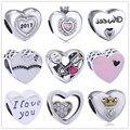 Valentine's day gift Silver pandora Charm Love Hearts Charms Pandora Bracelet original DIY Accessories Jewelry Original Making