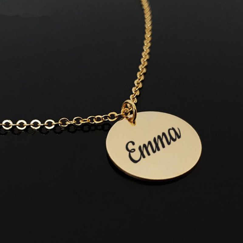 Customized Jewelry Engraved Letters Name Disk Necklace Personalized Custom  Initial Roman Numeral Old English Font Round Pendant