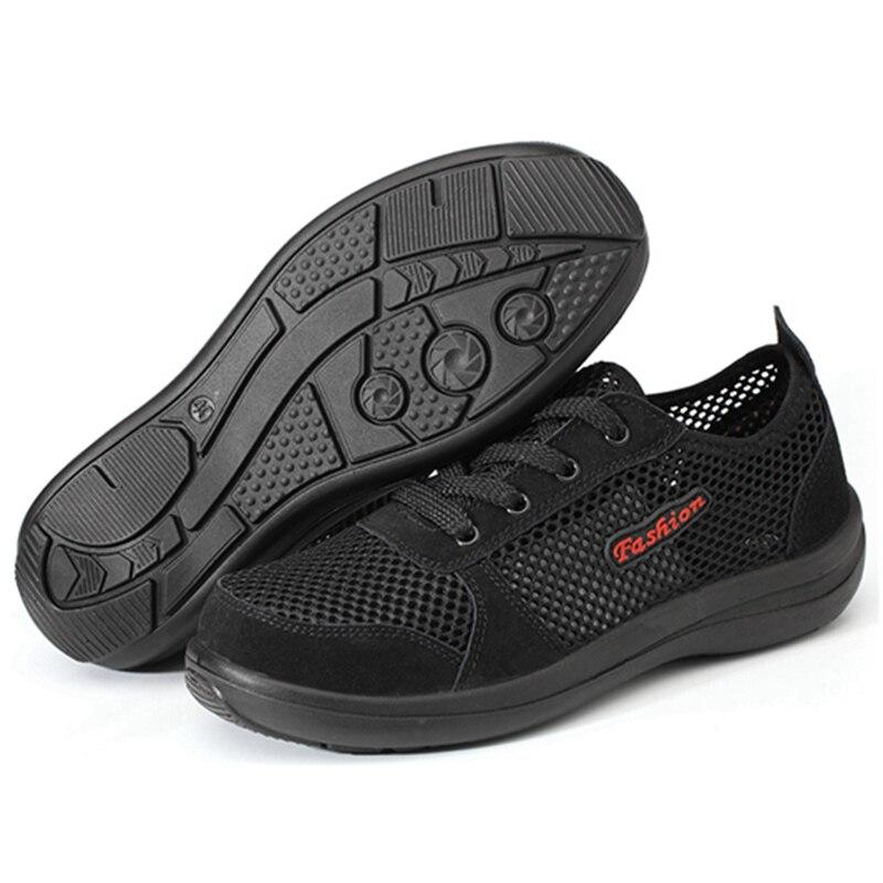 Для Мужчин's Сталь носком рабочие защитные ботинки, обувь; Воздухопроницаемый материал; Рабочая обувь анти-прокол противоскользящий дизайн Повседневное защитная обувь - Цвет: Black Style B