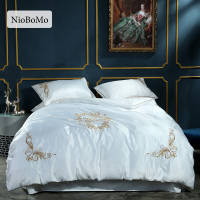 Niobomo Luxury Embroidery White Silk Bedding Set Bedroom Home Textiles Silky Duvet Cover Comforter Bed Set With Flat Sheet 4pcs